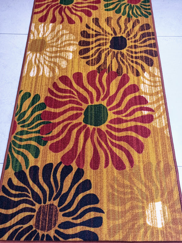 Wild Flowers Style Polyester Area Rug Anti-Slip Small Carpet / Runners for Living Room, Bedrooms