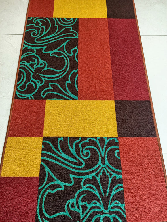 RED VELVET CONTEMPORARY DESIGN MATS / RUGS - 100% POLYESTER RUG WITH ANTI-SLIP LATEX BACK - 150x80cm
