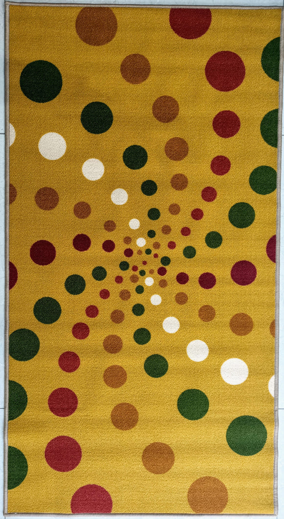 Spiral Dots Light (Yellow) Polyester Area Rug Anti-Slip Small Carpet / Runners for Living Room, Bedrooms