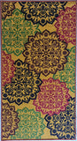 Golden Decor Multi-colour Design Rugs / Runners - 100% Polyester Rug with Anti-slip Latex back