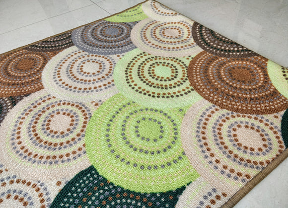 Knitted Green Design Rugs / Mat - 100% Polyester Rug with Anti-slip Latex back - 120x80cm