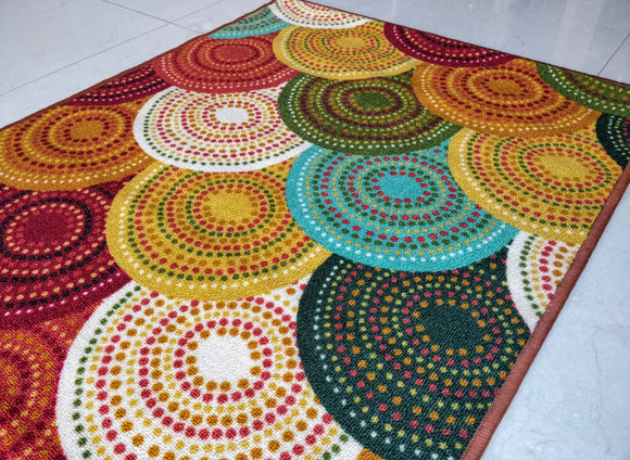 Knitted Brown (Multi Colour) Polyester Area Rug Anti-Slip Small Carpet / Runners for Living Room, Bedrooms