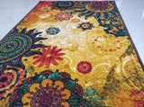 Chakra 1 Style (Golden) Polyester Area Rug Anti-Slip Small Carpet / Runners for Living Room, Bedrooms