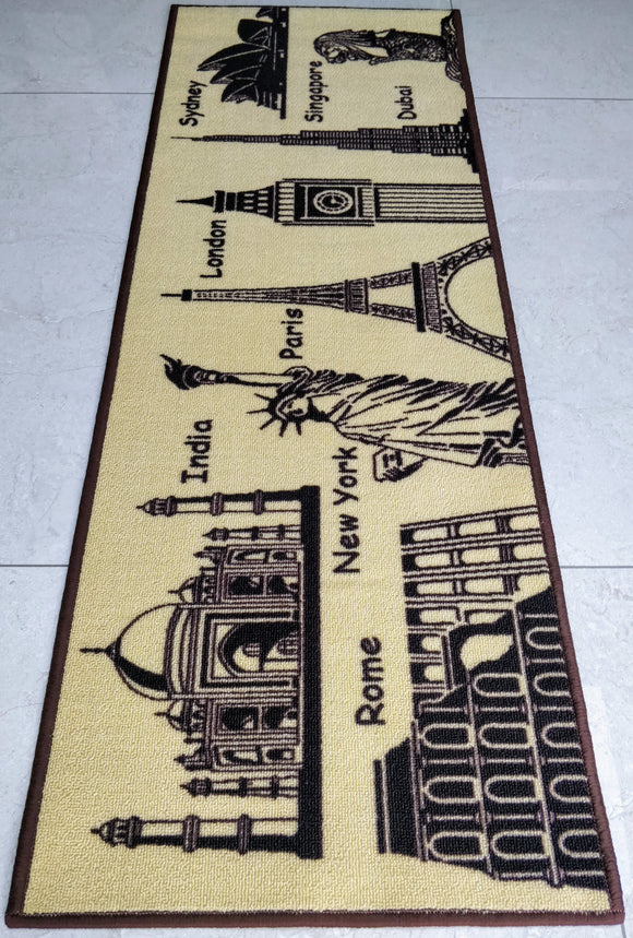 World Theme Anti-slip Area Carpets/Rugs 100% Polyester Latex back washable (My World My Home)