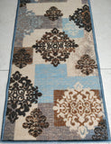 Blue Decor Modern Art Rugs / Runners - 100% Polyester with anti-slip Latex back