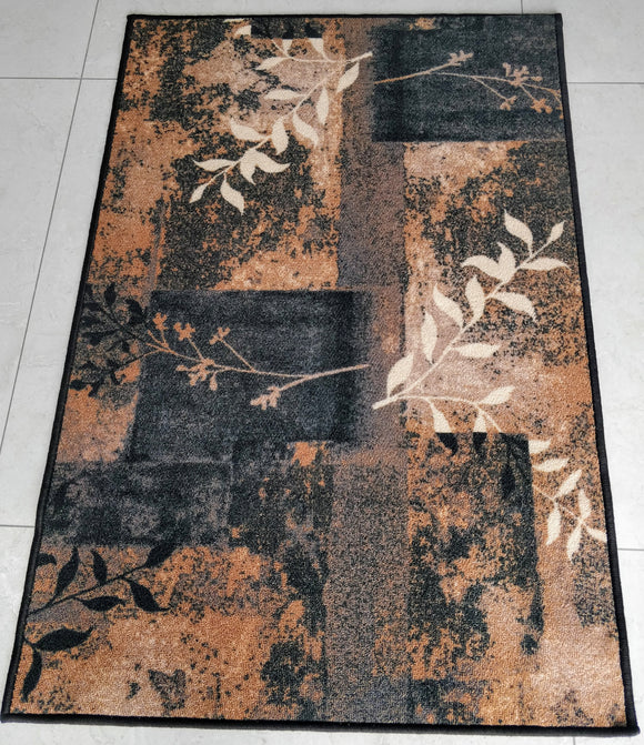 Modern Art Theme Anti-slip Area Carpets/Rugs 100% Polyester Latex back washable (Dark Blue Decor)