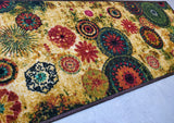 Chakra 2 Style (Golden) Polyester Area Rug Anti-Slip Small Carpet / Runners for Living Room, Bedrooms