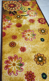 Morning Bloom Style (Golden) Polyester Area Rug Anti-Slip Small Carpet / Runners for Living Room, Bedrooms