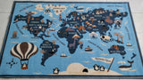 Little World Map Rugs / Runners / Mats for Kids Room - 100% Polyester with anti-slip Latex back