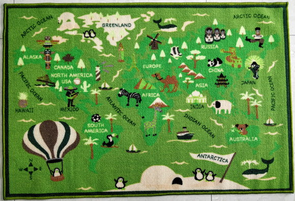 Little World (Green) Polyester Area Rug Anti-Slip Small Carpets / Runners for Living Room, Bedrooms