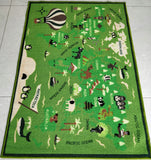 Little Green World Map Rugs / Runners / Mats for Kids Room - 100% Polyester with anti-slip Latex back