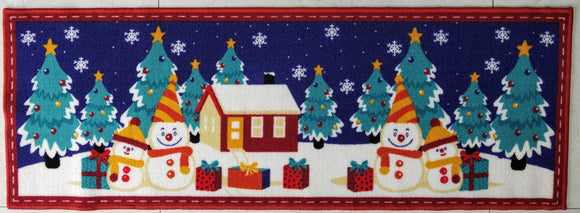 Christmas Snowman Style (Blue) Polyester Area Rug Anti-Slip Small Carpet / Runners for Living Room, Bedrooms