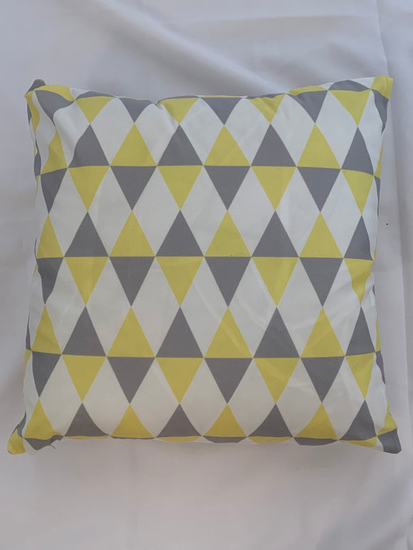 2 x Yellow, Grey & White Cushion Covers (58601) Short Plush 45 x 45 cm Square Premium Soft Furnishing, Sofas, Beds, Indoor, Outdoor