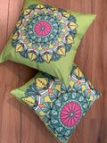 2 x Green Cushion Covers (56408) Linen 45 x 45 cm Square Premium Soft Furnishing, Sofas, Beds, Indoor, Outdoor