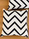 2 x Black & White Cushion Covers (54806) Velvet 45 x 45 cm Square Premium Soft Furnishing, Sofas, Beds, Indoor, Outdoor