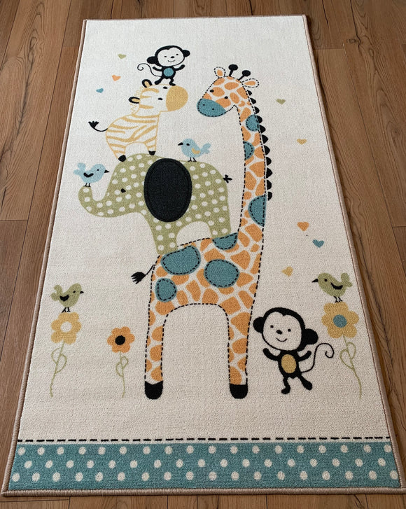 Nursery Animals Polyester Area Rug Anti-Slip Small Carpets / Runners for Living Room, Bedrooms