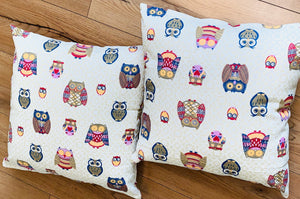 2 x Ivory Owl Print Cushion Covers (43605) Linen 45 x 45 cm Square Premium Soft Furnishing, Sofas, Beds, Indoor, Outdoor