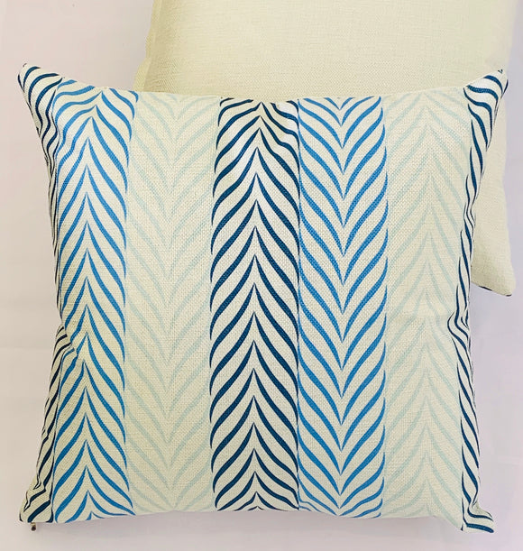 2 x White Blue Lines Cushion Covers (63113) Linen 45 x 45 cm Square Premium Soft Furnishing, Sofas, Beds, Indoor, Outdoor