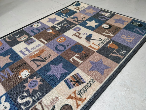 Alphabet Polyester (Grey) Area Rug Anti-Slip Small Carpets / Runners for Living Room, Bedrooms