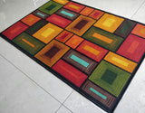 Brown Blocks 3D Style (Brown) Polyester Area Rug Anti-Slip Small Carpet / Runners for Living Room, Bedrooms