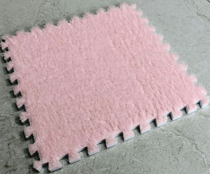 10 x EVA Rug Tile (Pink) Soft Interlocking Fur Feeling 30 x 30 cm Ideal for Yoga, Pay Mat