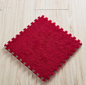 10 x EVA Rug Tile (Red) Soft Interlocking Fur Feeling 30 x 30 cm Ideal for Yoga, Pay Mat