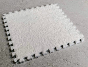 10 x EVA Rug Tile (White) Soft Interlocking Fur Feeling 30 x 30 cm Ideal for Yoga, Pay Mat