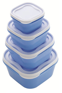 Everyday Blue 4pc Food Storage Container Set Square Lids Freezer Microwave BPA Free Lunch Box …