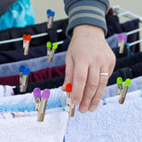 160 x Stainless Steel Laundry Pegs Colourful Soft Grip Long Lasting Pad to Safeguard Delicate Fabric 6 cm