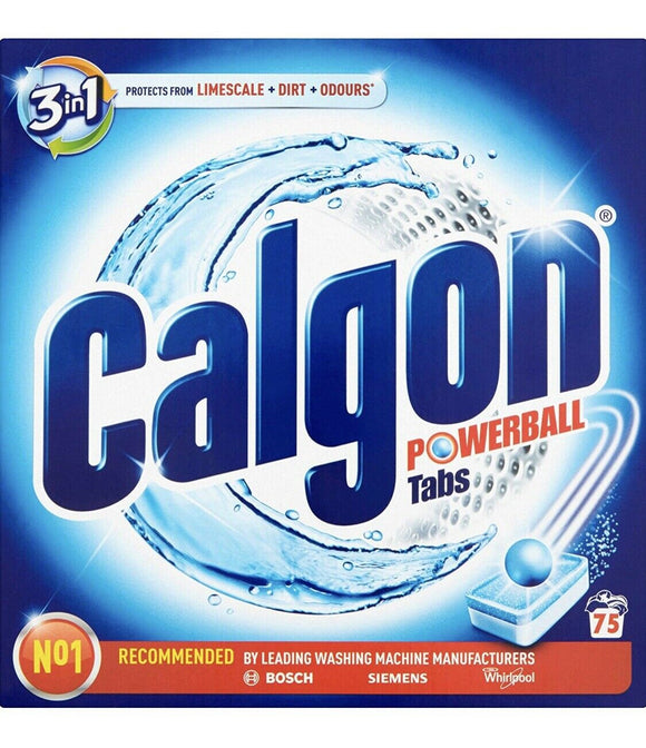 Calgon 3-in-1 - Powerball Tabs - Washing Machine Water Softener Tablets, 75 Tabs