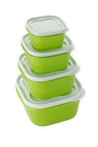 Everyday Green 4pc Food Storage Container Set Square Lids Freezer Microwave BPA Free Lunch Box