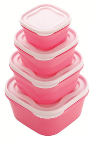 Everyday Pink 4pc Food Storage Container Set Square Lids Freezer Microwave BPA Free Lunch Box