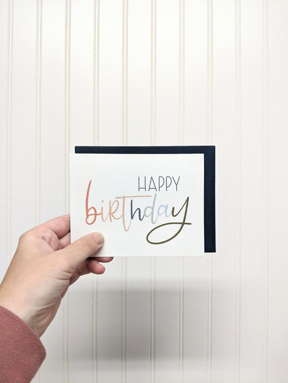 Hand-Lettered Greeting Card - Notecard - Snail Mail - Minimal Birthday Card - Modern Greeting Card - Neutral Color Thank you Card