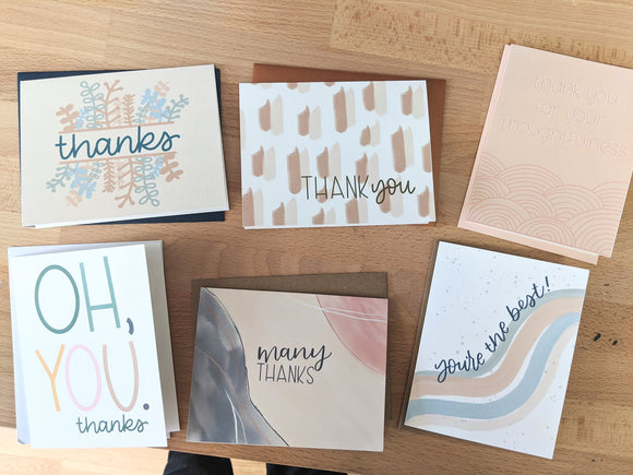 6 Pack of Thank You Cards - Notecard - Snail Mail - Minimal Card - Modern Greeting Card - Neutral Color Thank you Card