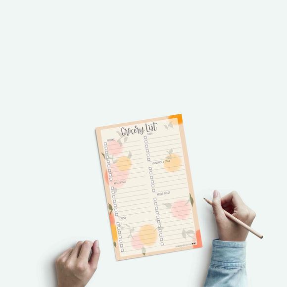 Grocery List Notepad - Shopping List - Weekly Groceries - Grocery Store List - Meal Planning