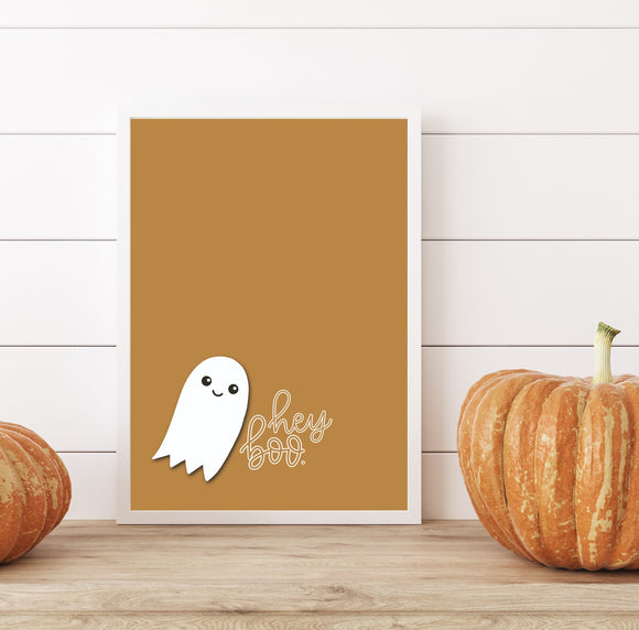 Hey Boo - Hand-Lettered Print - Home Decor - Wall Decor - Text Print - Framed Artwork -  Office Decor - Autumn Decor - Fall Decor