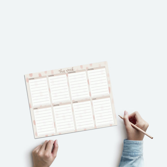 Weekly Notepad - Weekly Planner - Desk Planner - Day Planner - To Do List - Tear off Pad - Office Gift - Desk Notes - Notes Pad