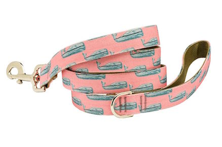 Nantucket Whale design Pink Dog Lead