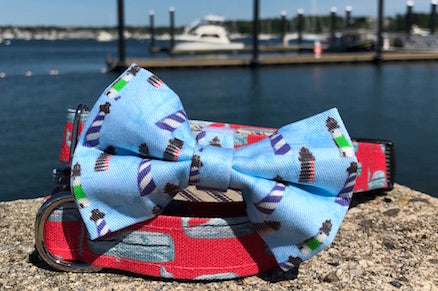 New England Lighthouses Dog Bowtie for Dog Collar
