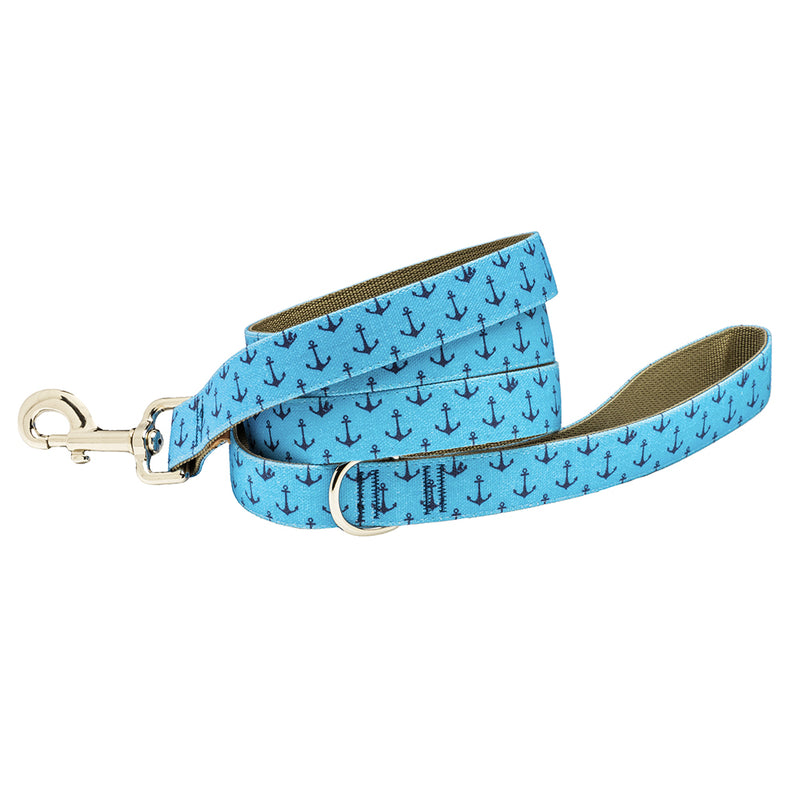 Our Good Dog Spot Dog Lead Anchors Aweigh Bowens Wharf Blue