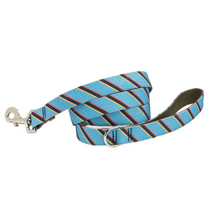 Our Good Dog Spot Prep Repp Stripe Dog Lead Blue