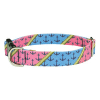 Anchors Aweigh Preppy Dog Collar - Pink and Blue Patchwork