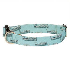 Our Good Dog Spot Nantucket Whale 23 Dog Collar Teal