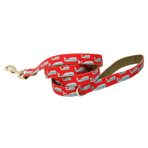 Our Good Dog Spot Nantucket Whale 23 Dog Lead Red