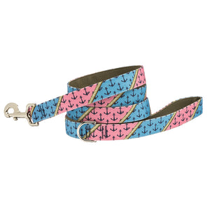 Our Good Dog Spot Anchors Aweigh Dog Lead Preppy Pink and Blue Patchwork