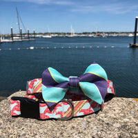 Our Good Dog Spot Blue and Teal Ivy League Repp Bowtie and Boothbay Lobster dog collar