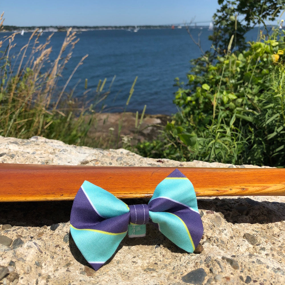 Our Good Dog Spot Ivy League Repp Stripe Bow Tie Blue and Teal