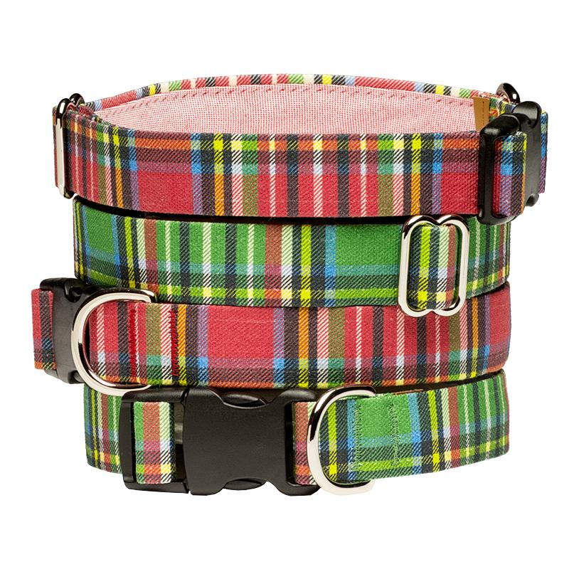 Our Good Dog Spot Landsdowne Tartan Dog Collar stack of Red and Green