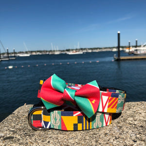 Our Good Dog Spot Red and Green Ivy League Repp Stripe Bowtie and Green Corinthian dog collar