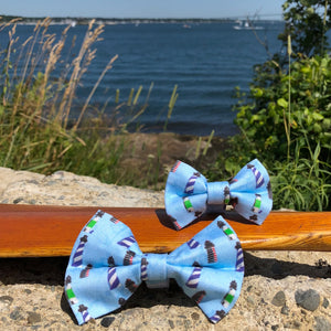 Our Good Dog Spot New England Lighthouse Bow Tie Buzzards Bay Blue